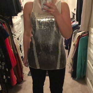 White and silver sequin party top